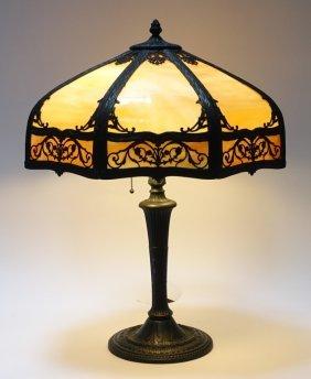 Miller Lamp Co Caramel Slag Glass 16 Panel Lamp