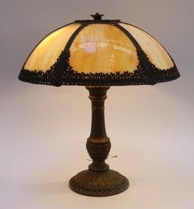 American Caramel Slag Glass 6 Panel Table Lamp