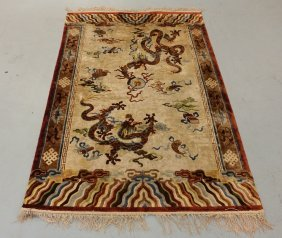 Antique Chinese Silk Dragon Design Rug