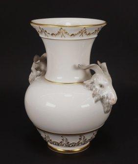 Kpm Porcelain Bulbous Acanthus Leaf Rams Vase