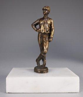 American Patinated Miniature Bronze Jockey