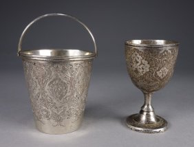 2 Middle Eastern Ceremonial Silver Vessels