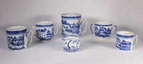 6 Chinese Blue & White Porcelain Export Cups