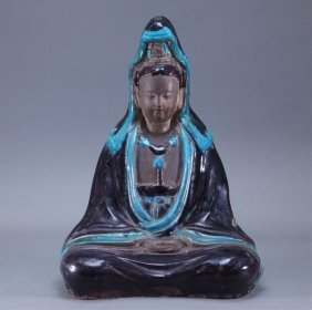 Chinese Ming Aubergine Turquoise Seated Guanyin
