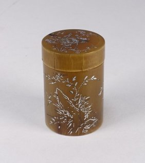 Signed Chinese Qing Dynasty Horn Silver Box