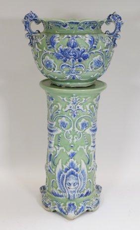 Chinese Celadon Blue & White Porcelain Jardiniere