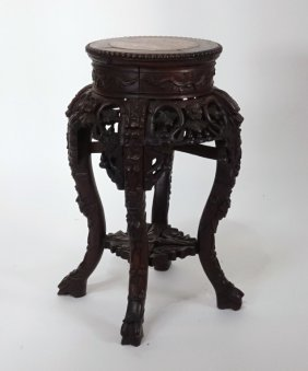 Chinese Carved Rosewood Marble Top Table Stand