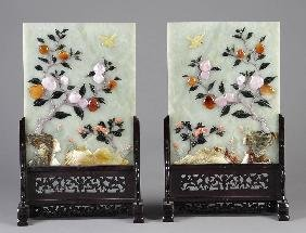 A PAIR OF CHINESE CARVED JADE AND HARDSTONE TABLE S