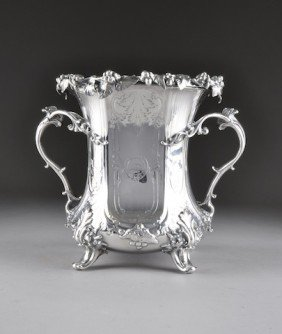 A FINE EARLY VICTORIAN SILVER PLATED WINE COOLER, CI