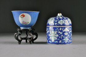 TWO CHINESE BLUE GROUND PORCELAIN WARES, Comprising