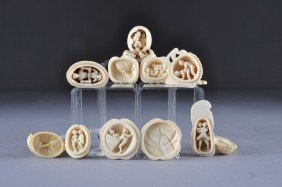 A GROUP OF SEVEN JAPANESE CARVED IVORY EROTIC NETSU