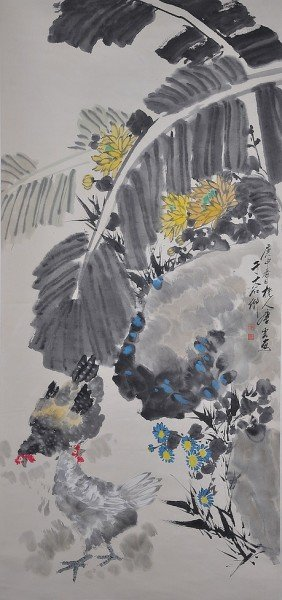 A CHINESE WATERCOLOR SCROLL PAINTING OF A ROOSTER