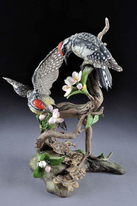 "A BOEHM 'YELLOW BELLIED SAPSUCKER"" PORCELAIN GROUP"