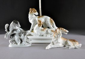 THREE GERMAN PORCELAIN BORZOI HOUNDS GROUPS, 20TH