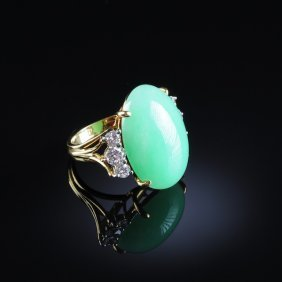 "AN 18K YELLOW GOLD, CHINESE ""A"" JADEITE JADE, AND"