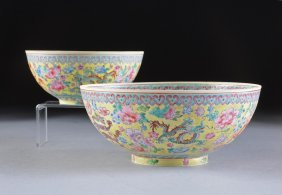 TWO CHINESE FAMILLE ROSE YELLOW GROUND ENAMELED EG