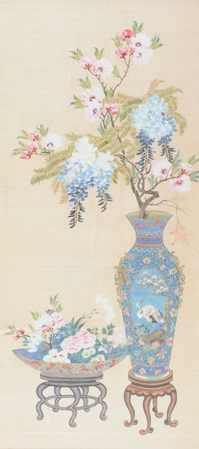A VINTAGE CHINESE WATERCOLOR ON SILK PANEL OF AUSPICIOU