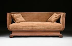 A Continental Art Deco Walnut Settee, Possibly German,