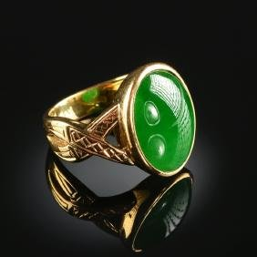 A 14k Yellow Gold, Chinese 'a' Jadeite Jade, And