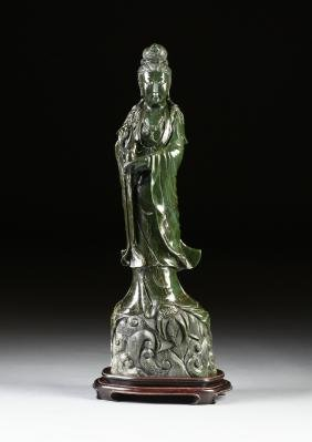A Large Chinese Carved Serpentine Marble Standing