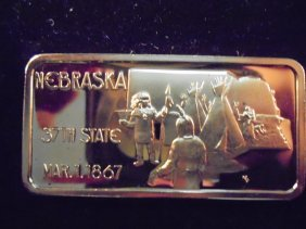 1 Oz. 24kt Gold Plated .999 Silver Ingot Nebraska