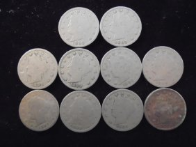 """10 Assorted 1890's Liberty """"v"""" Nickels"""