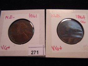 1861 & 1864 Newbrunswich Large Cents