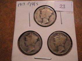 1917 P/d/s Mercury Dimes