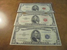 Lot Of 3-us $5 Currency See Description 1953-a Silver