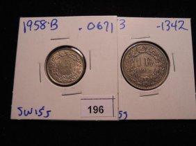 France 1958-b Silver Half Franc & 1943 Silver Franc