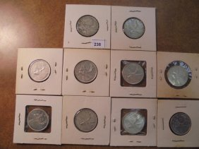 10 Assorted Canada Silver 25 Cents 1947 Maple Leaf