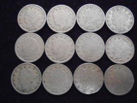 "12 Assorted Liberty ""v"" Nickels"