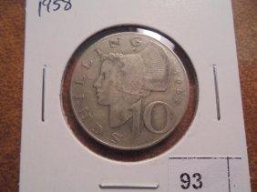 1958 Austria Silver 10 Shilling