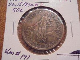 1907 Us/philippines Silver 50 Centavo .2411 Oz.asw