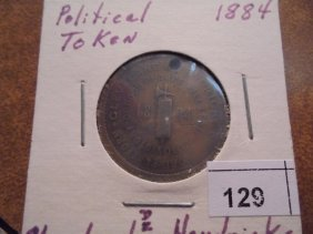 1884 Political Token Cleveland & Hendricks