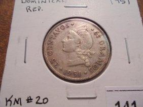 1951 Dominican Republic Silver 25 Centavos