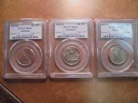 3 Pcgs Slabbed Quarters See Description