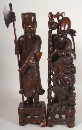 Two Large Asian Carved Wood Figures