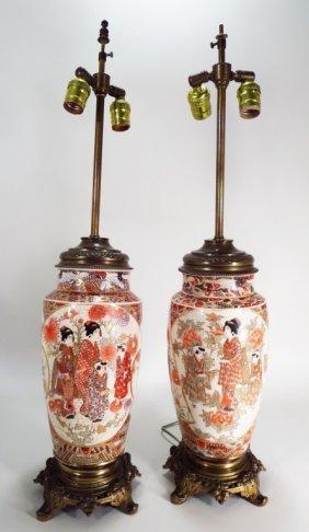 Pair Of Satsuma Style Lamps