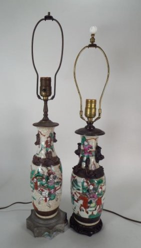Near Pr. Of Nanking Chinese Vases As Lamps, 19th