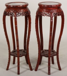 Pair Of Asian Hardwood Stands, Marble Tops