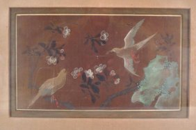 Pair Of Asian Painting Of Birds