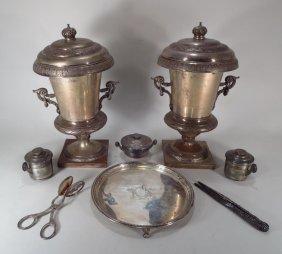 Pair Of Ornate Silverplate Wine Coolers