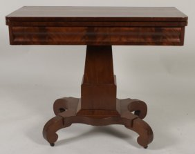 Empire Lift Top Card Table, Late 19thc.