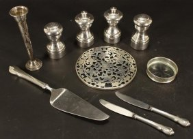 Group Of Sterling Silver Tableware, 20th C.