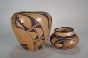 Two Hopi Pottery Vases With Geometric Designs