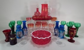 Group Of Painted/etched Glassware 19th/20th C.