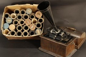 Edison Standard Phonograph With Box Of Cylinders