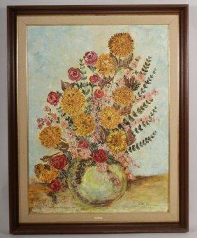 K. Veerman, Dutch, Van Gogh-style Bouquet, Oil