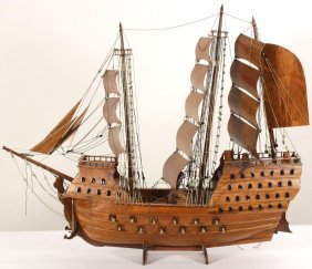 Large Spanish Galleon Wooden Ship Model